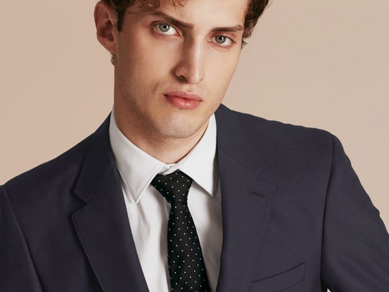 Navy Modern Fit Wool Part-canvas Suit Navy - cell image 4