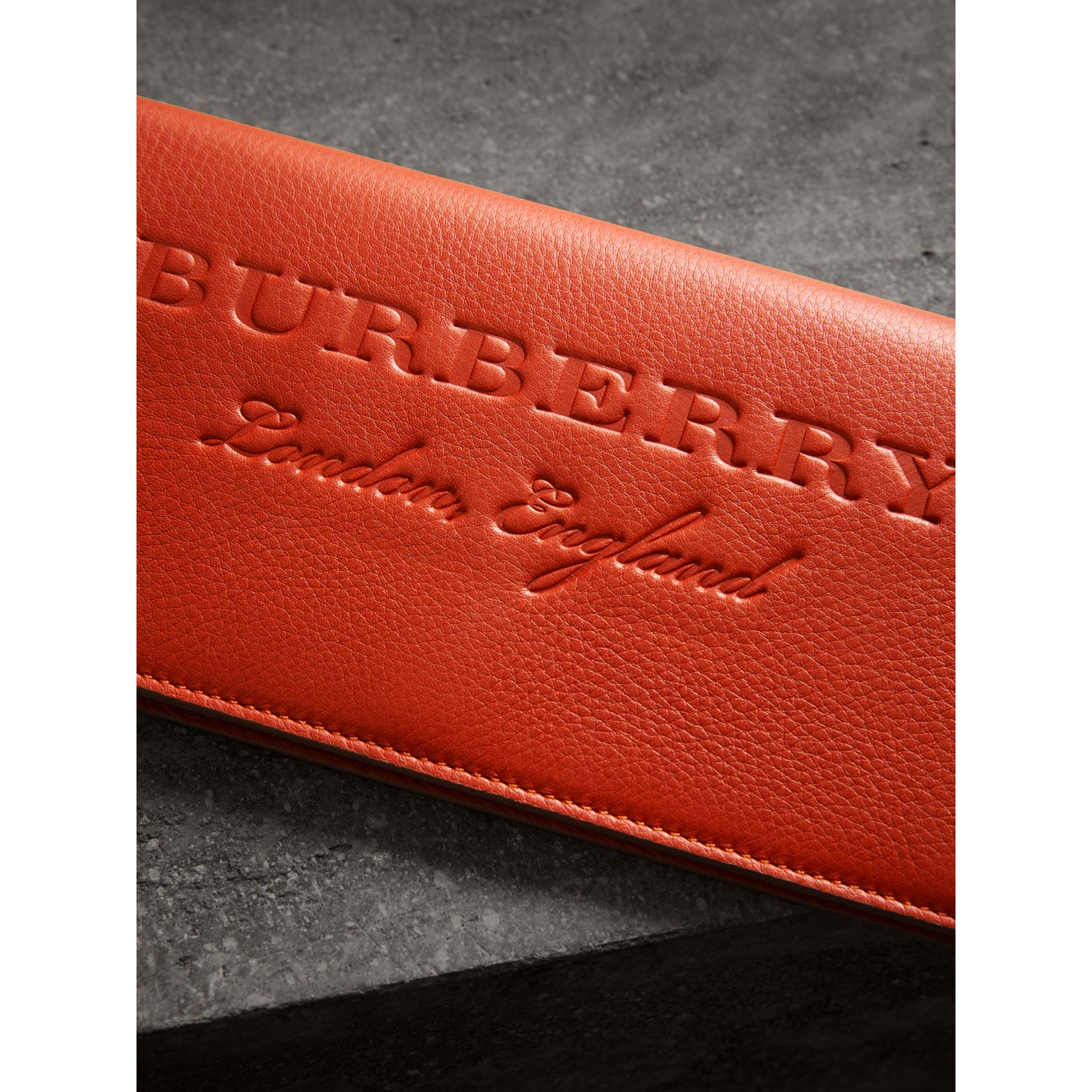 Embossed Leather Continental Wallet in Dark Clementine | Burberry - gallery image 1
