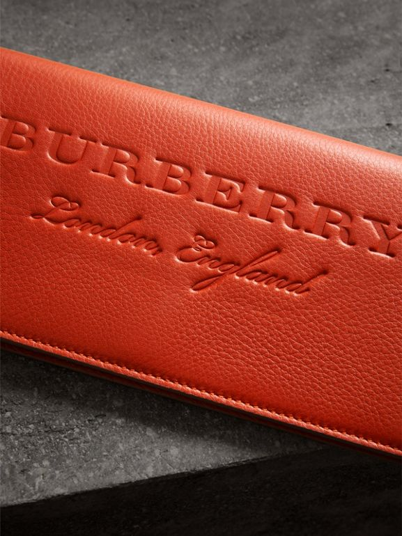 Embossed Leather Continental Wallet in Dark Clementine | Burberry United Kingdom - cell image 1