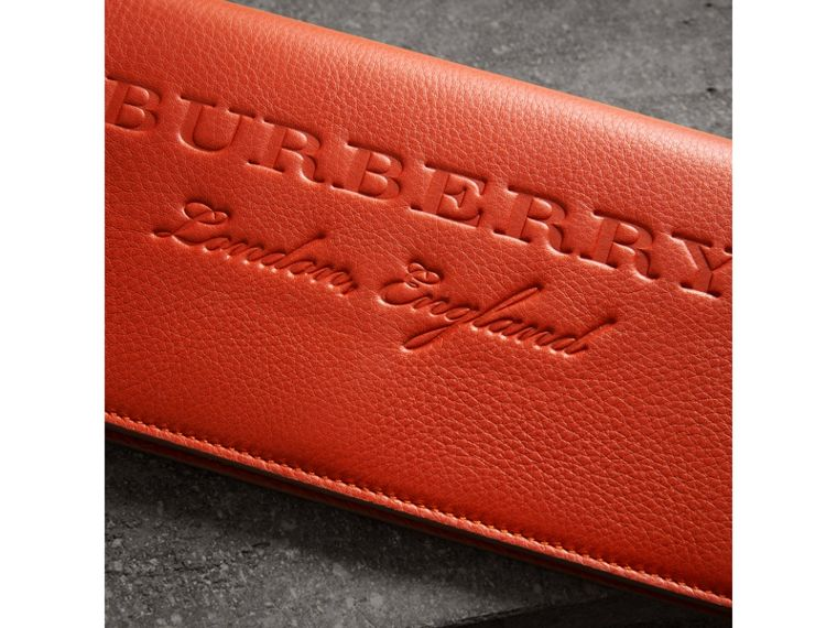 Embossed Leather Continental Wallet in Dark Clementine | Burberry - cell image 1