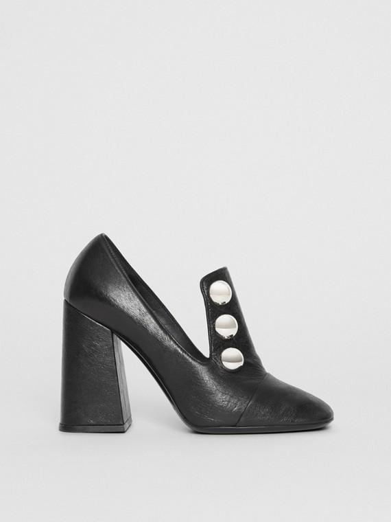 鉚釘細節皮革粗跟高跟鞋 (黑色)