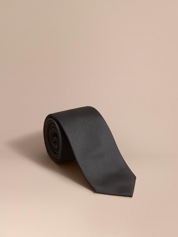現代剪裁絲質斜紋領帶 黑色