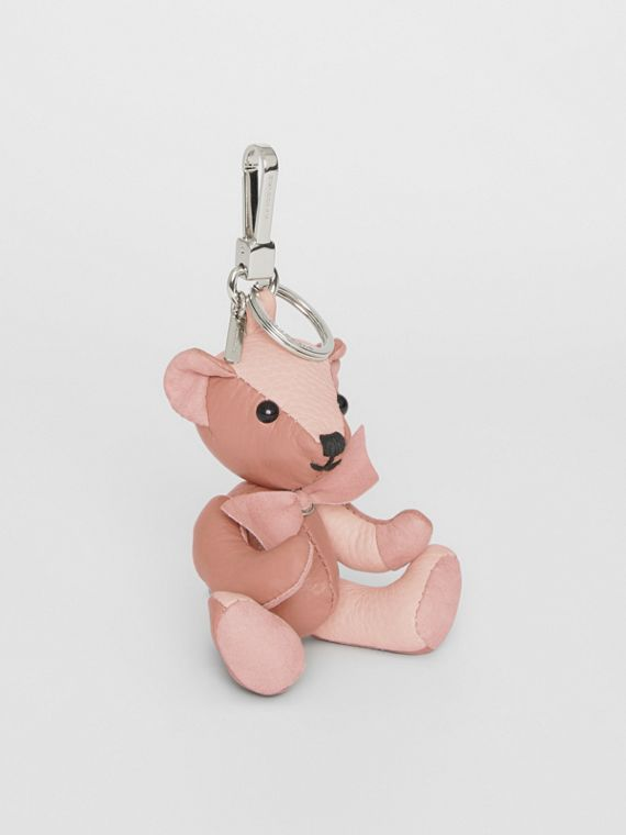 Thomas Bear Charm in Leather in Copper Pink/chalk Pink