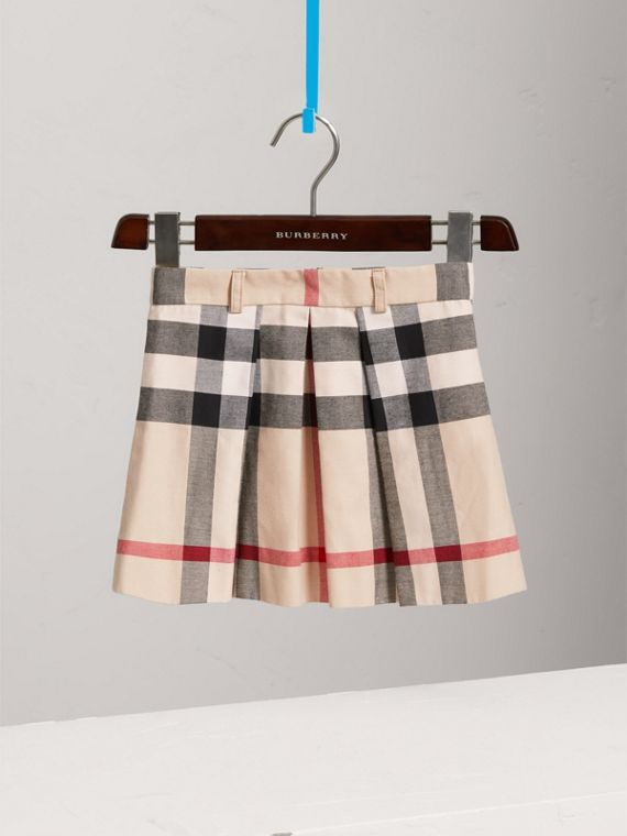 Pleated Check Cotton Skirt in Stone - Girl | Burberry Canada - cell image 2