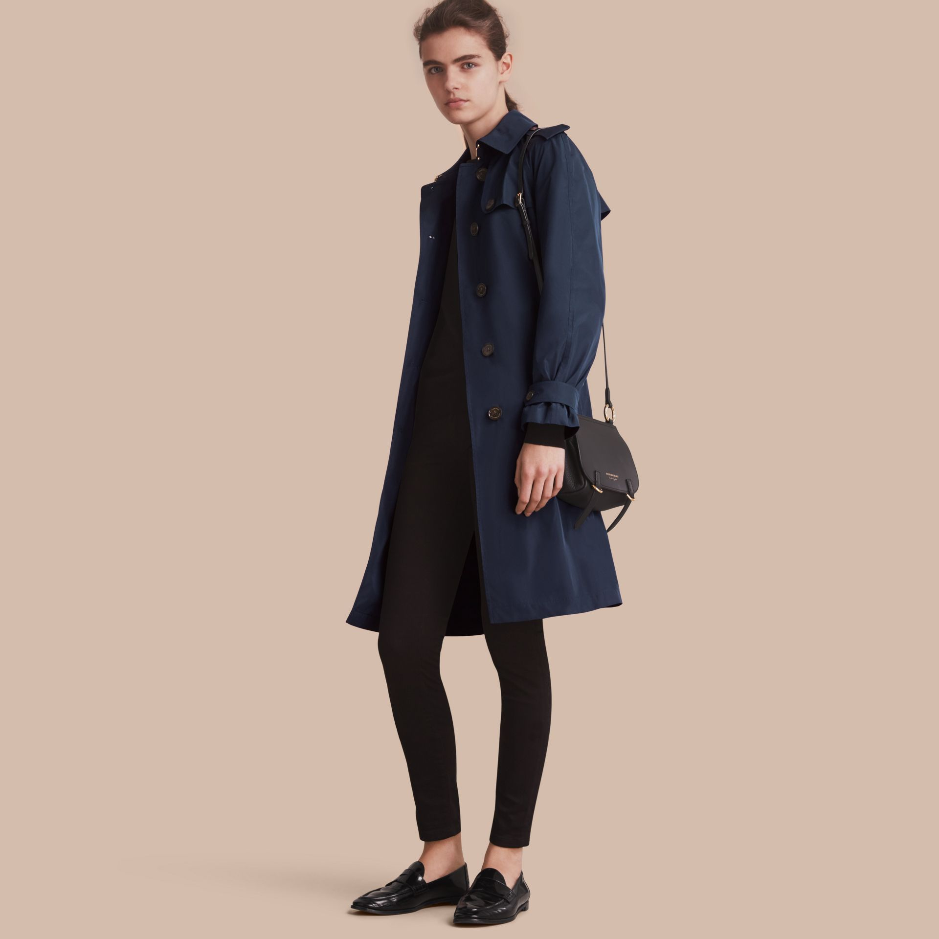 Single-breasted Technical Trench Coat Navy - gallery image 1