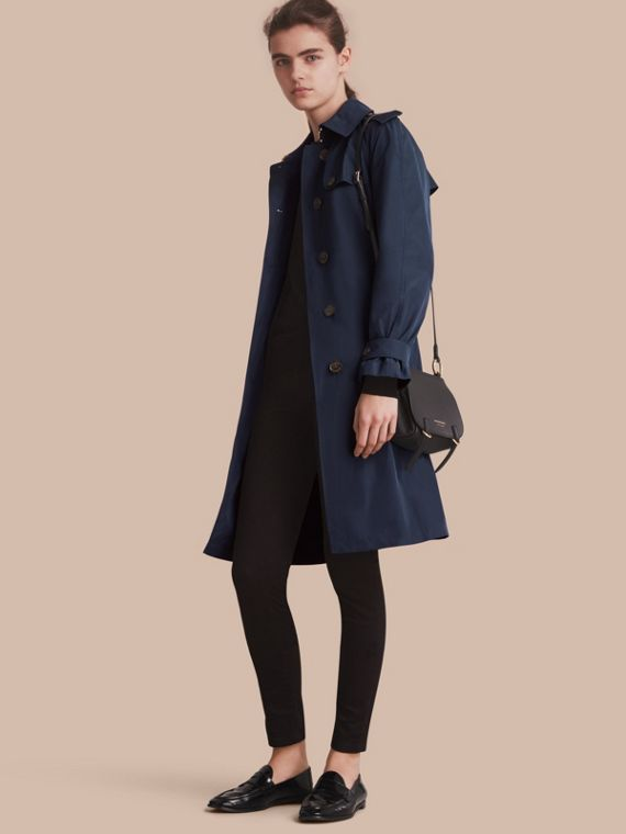 Trench coat monopetto in tessuto tecnico Navy