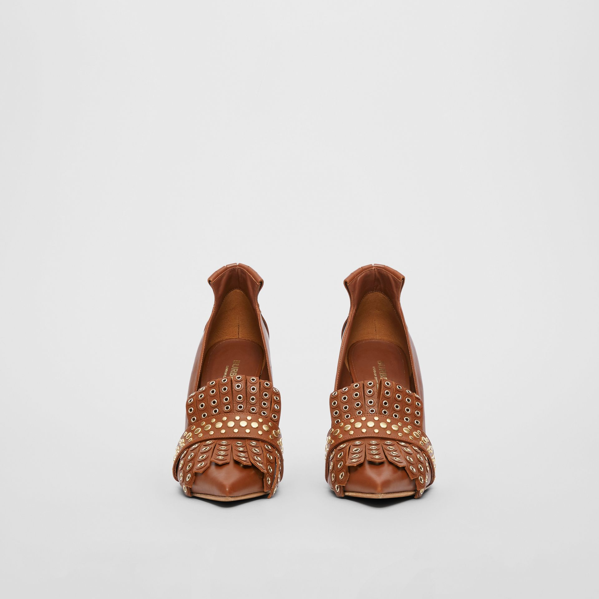 Studded Kiltie Fringe Leather Point-toe Pumps in Tan - Women | Burberry - gallery image 3