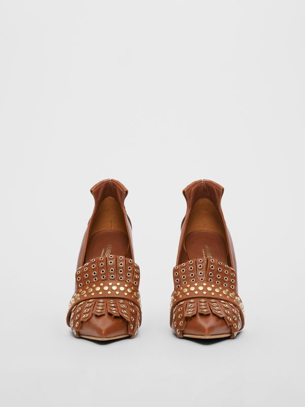 Studded Kiltie Fringe Leather Point-toe Pumps in Tan - Women | Burberry - cell image 3