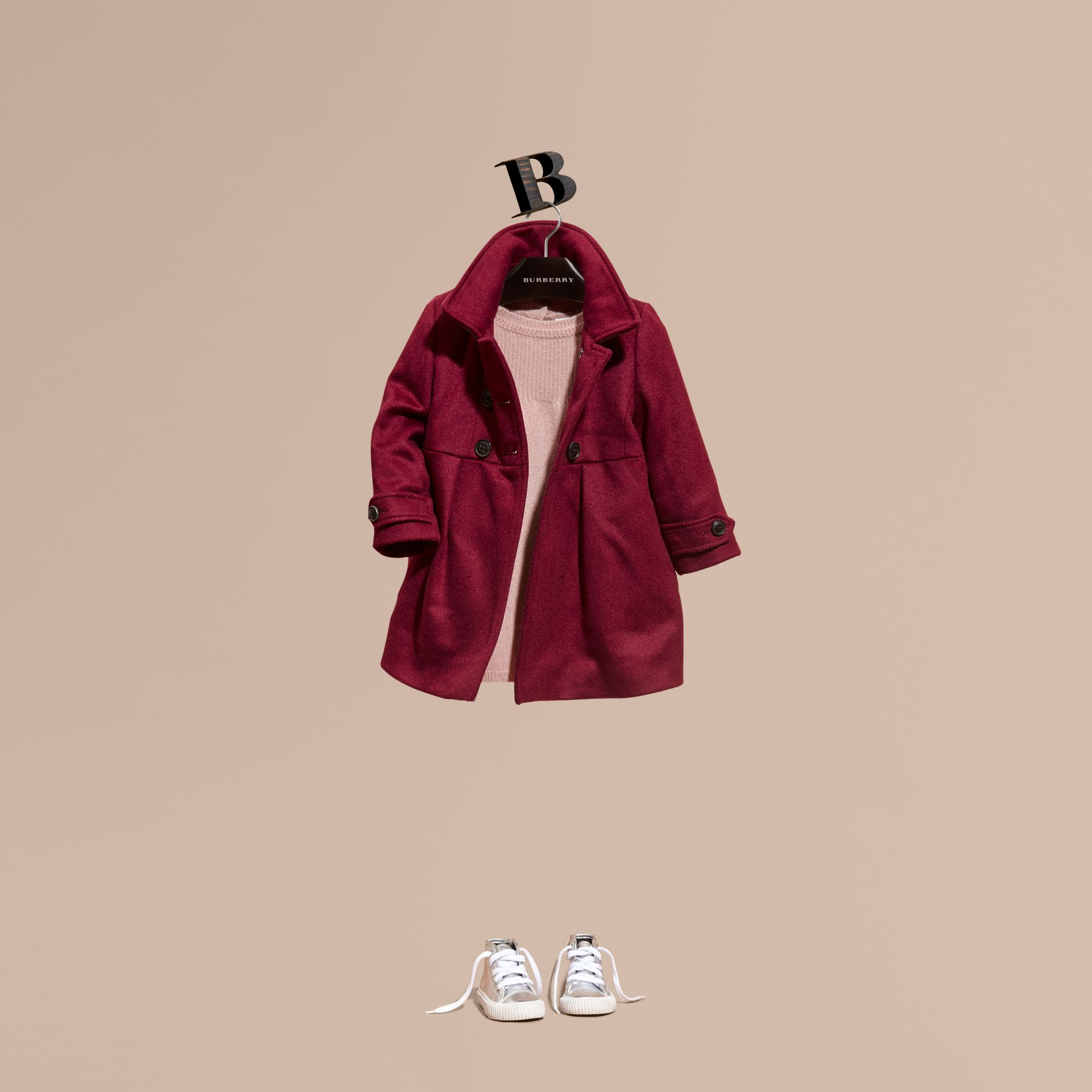 Cherry pink Tailored Cashmere Coat Cherry Pink - gallery image 1