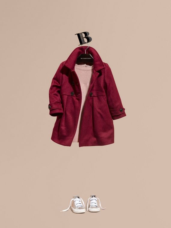 Tailored Cashmere Coat in Cherry Pink