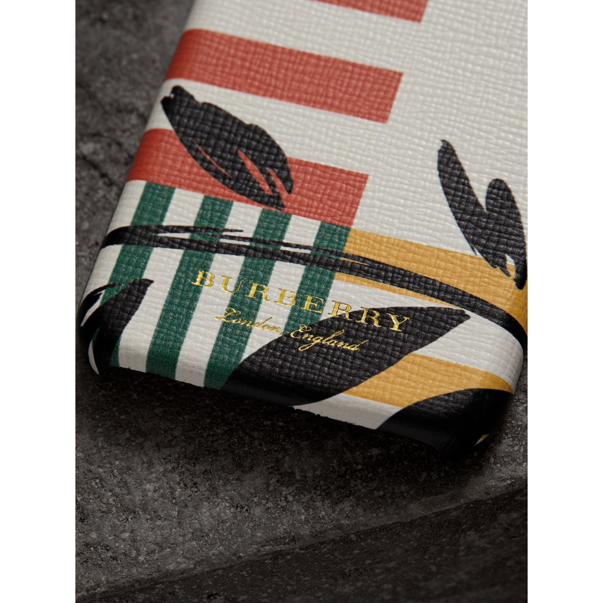 Floral Stripe Print Leather iPhone 8 Case in Patchwork | Burberry - gallery image 1