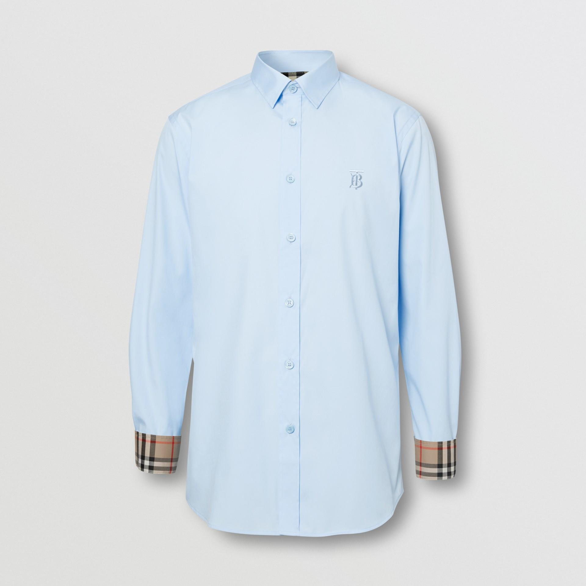 Monogram Motif Cotton Oxford Shirt in White - Men | Burberry - gallery image 6