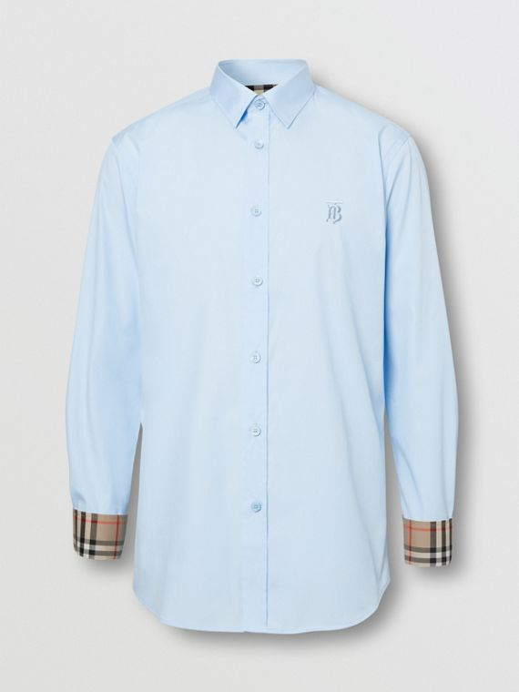 Classic Fit Monogram Motif Cotton Oxford Shirt in Sky Blue