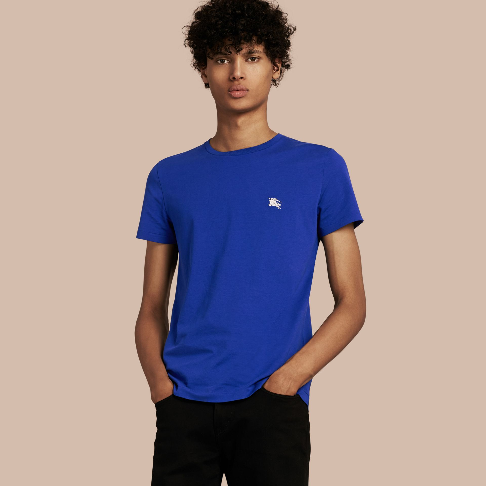 Cotton Jersey T-shirt in Bright Lapis - Men | Burberry - gallery image 1