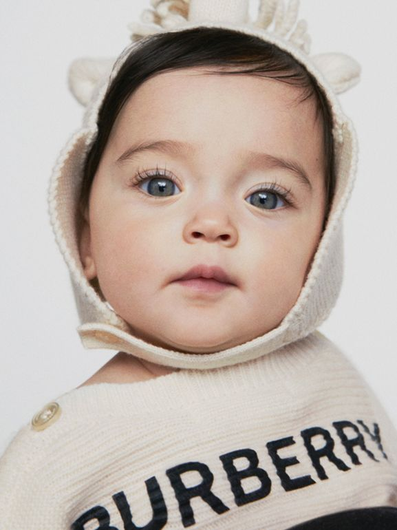 Logo Print Wool Cashmere Six-piece Baby Gift Set in Ivory - Children | Burberry - cell image 1