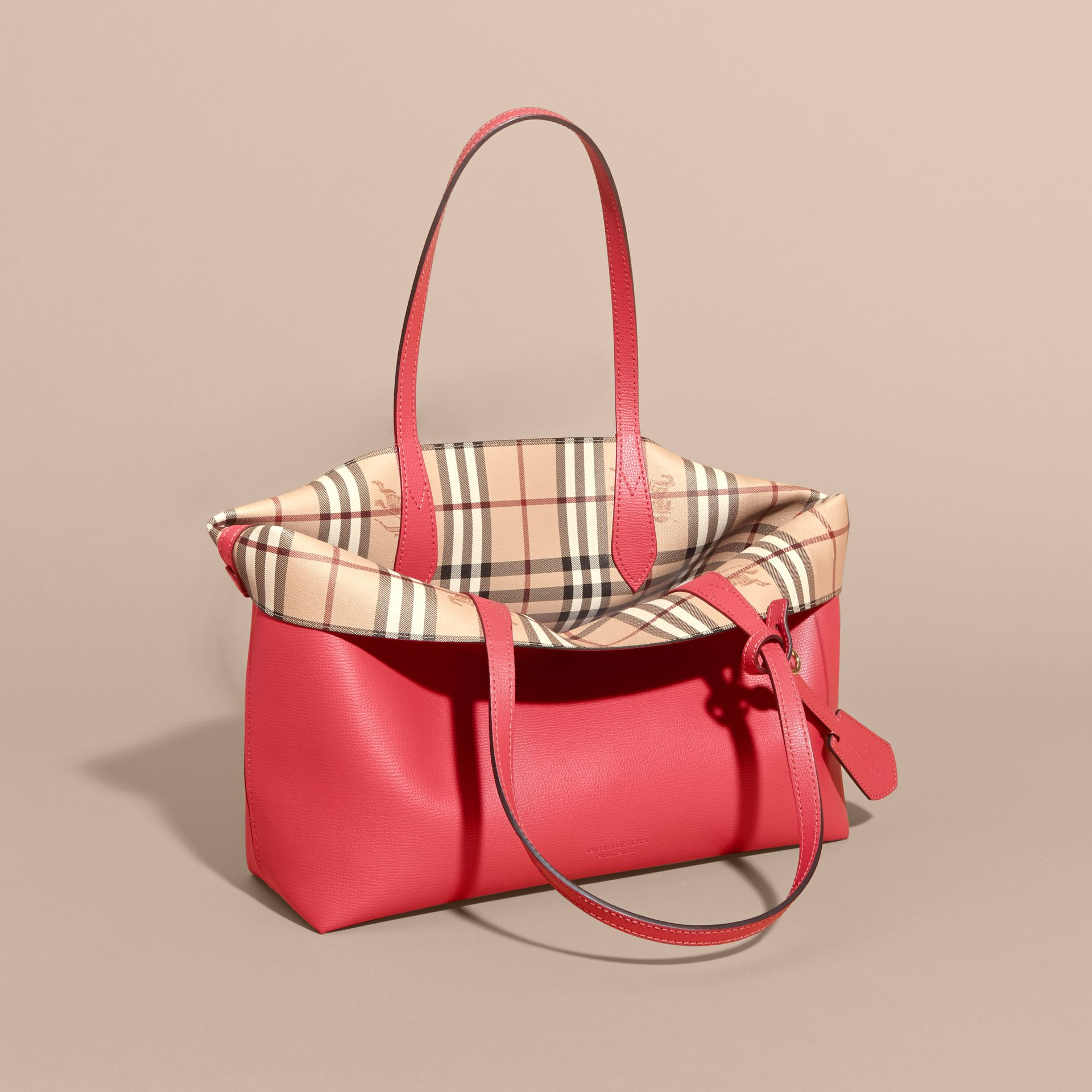 The Medium Reversible Tote in Haymarket Check and Leather Coral Red - gallery image 5