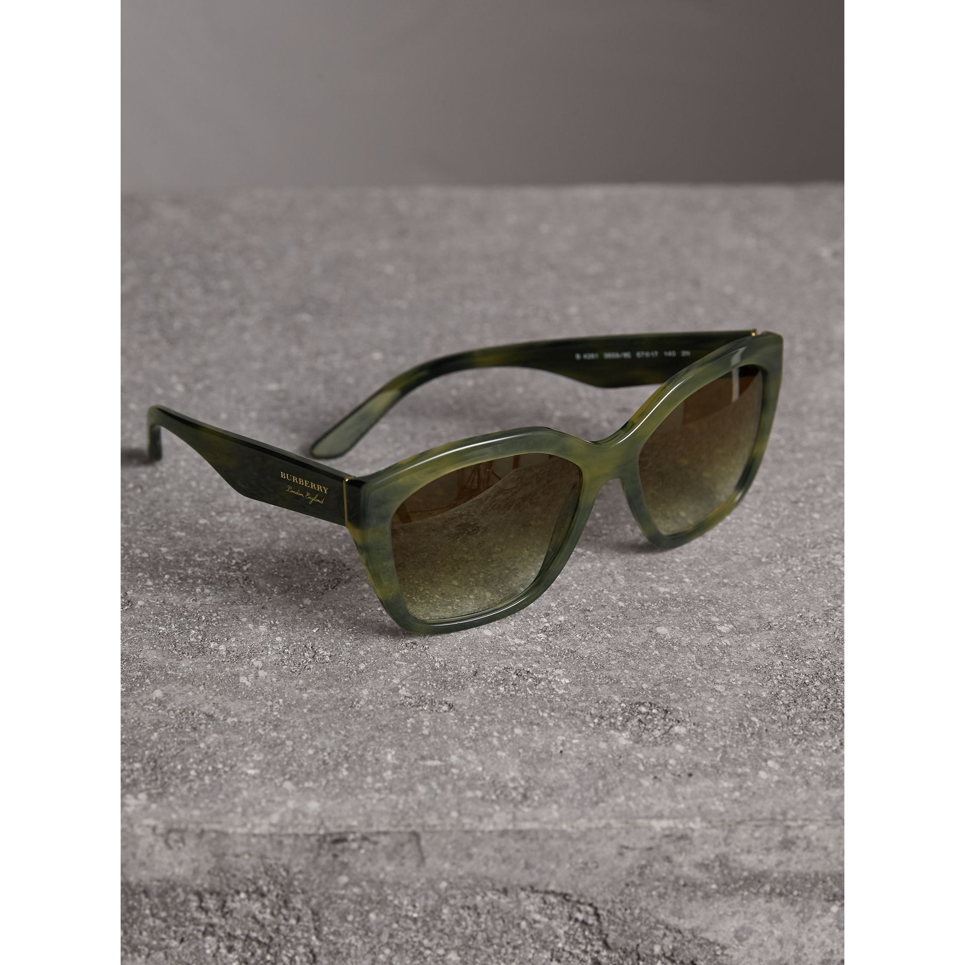 Square Frame Sunglasses in Smokey Green - Women | Burberry - gallery image 2