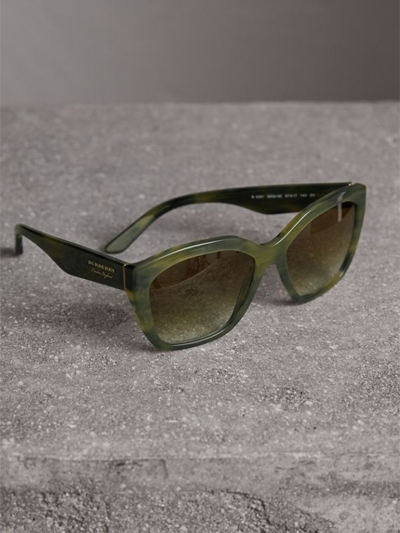 Square Frame Sunglasses in Smokey Green - Women | Burberry United States - cell image 2