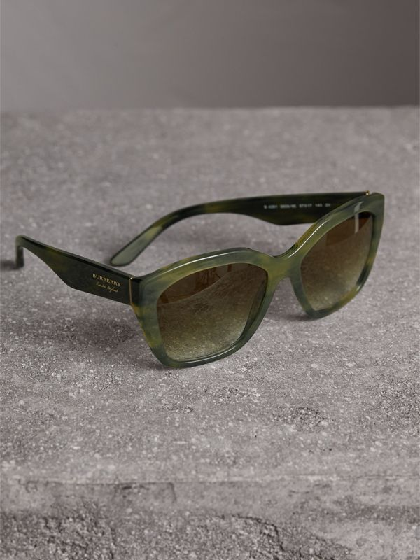 Square Frame Sunglasses in Smokey Green - Women | Burberry - cell image 2