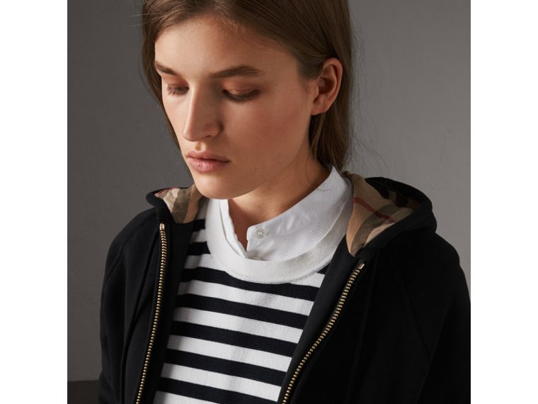 Hooded Zip-front Cotton Blend Sweatshirt in Black - Women | Burberry United States - cell image 1