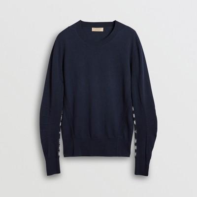 Burberry - Pull en laine mérinos à détails check - 4