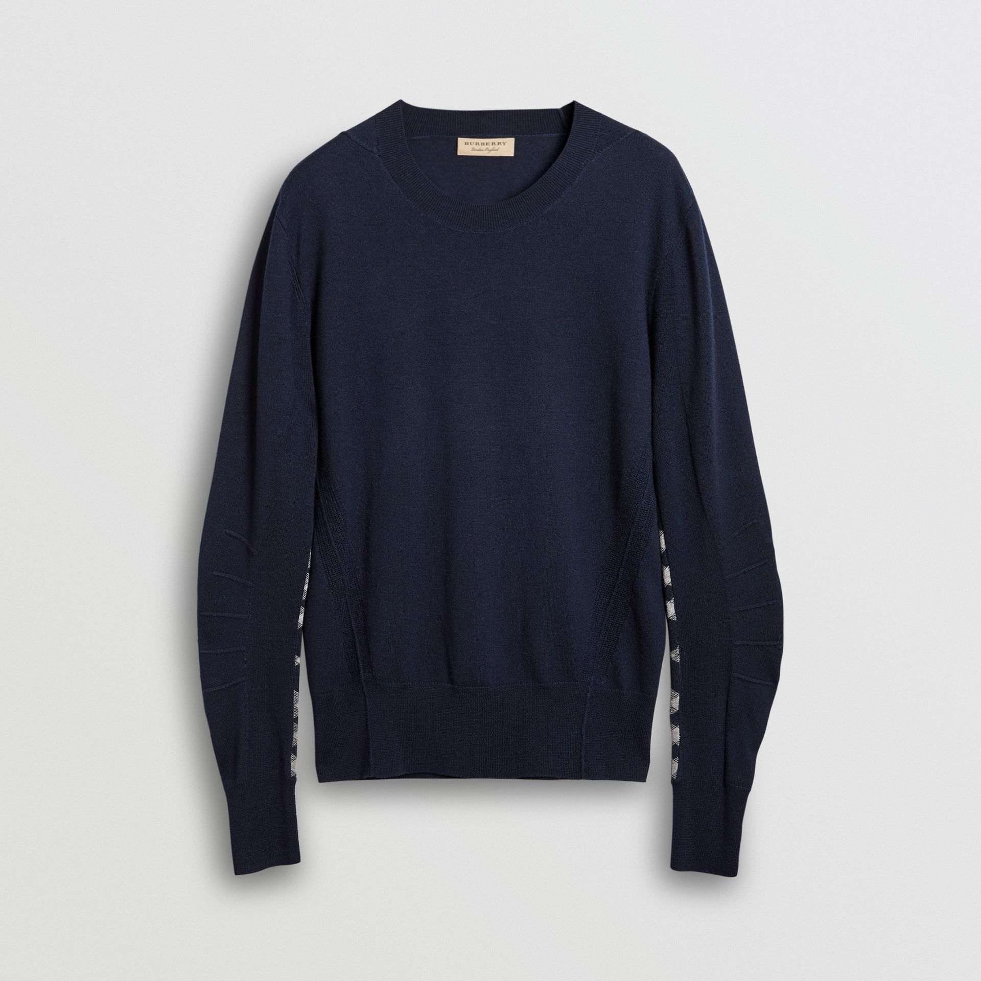 Check Detail Merino Wool Sweater in Navy - Men | Burberry Canada - gallery image 3