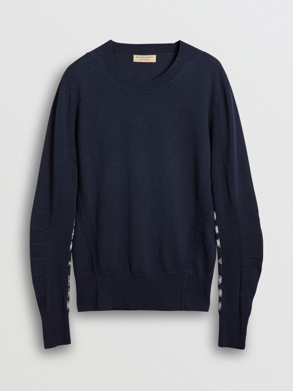Check Detail Merino Wool Sweater in Navy - Men | Burberry United Kingdom - cell image 3