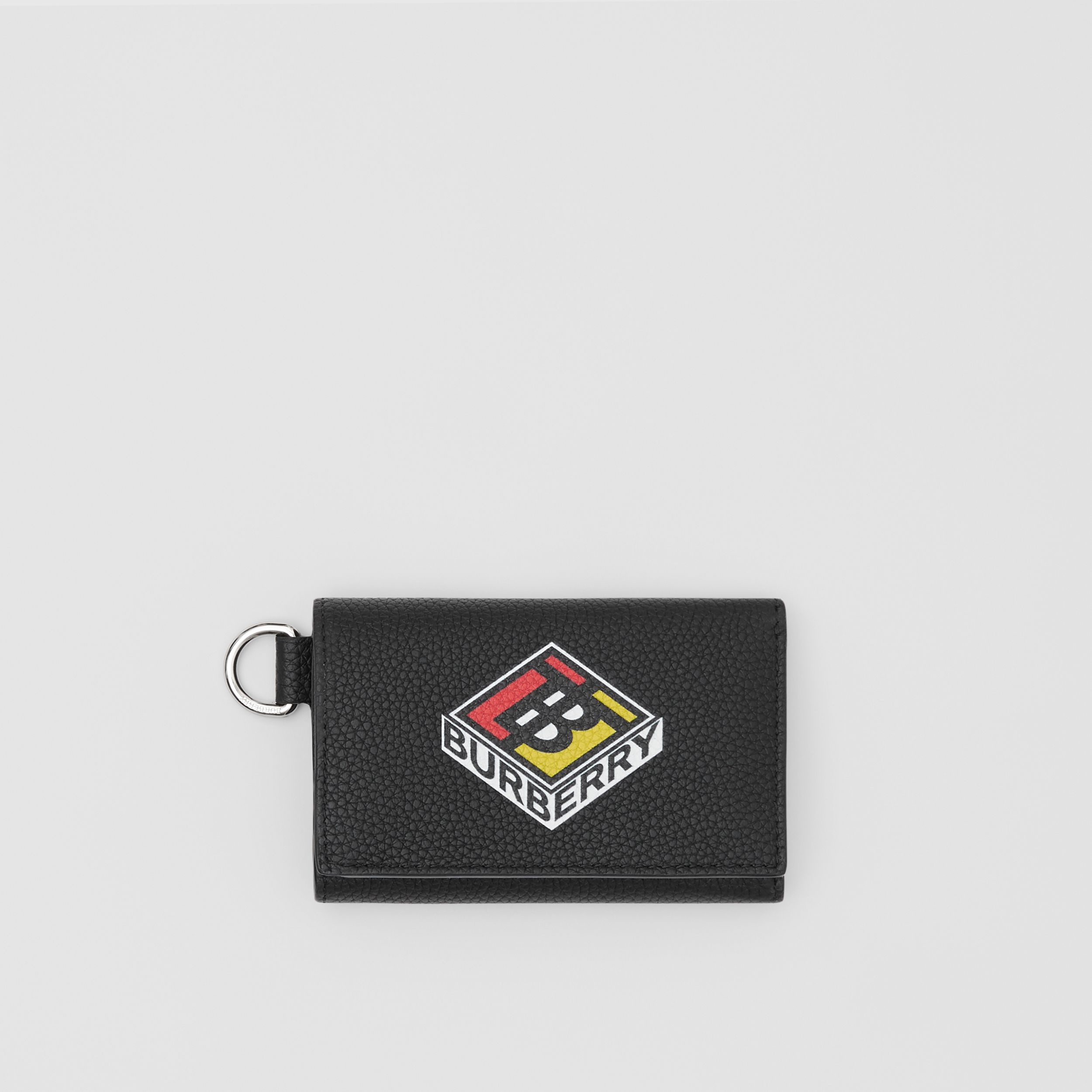 Small Logo Graphic Grainy Leather Folding Wallet in Black - Men | Burberry Hong Kong S.A.R - 1