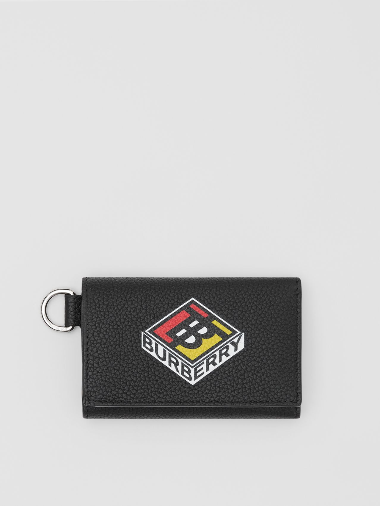 Small Logo Graphic Grainy Leather Folding Wallet in Black