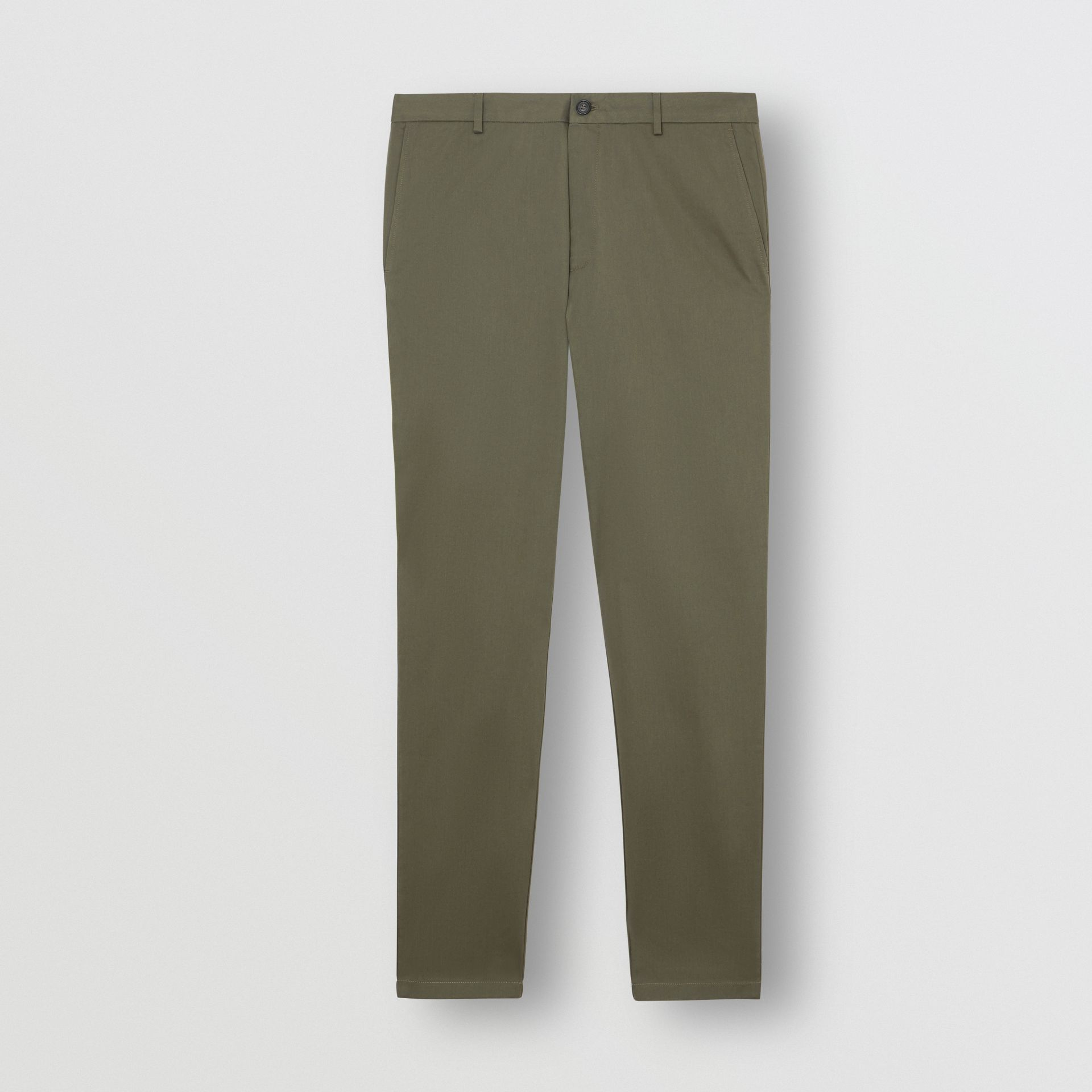 Slim Fit Cotton Chinos in Military Green - Men | Burberry United Kingdom - gallery image 3