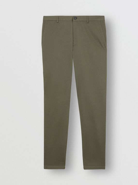 Pantalon chino slim en coton (Vert Militaire)