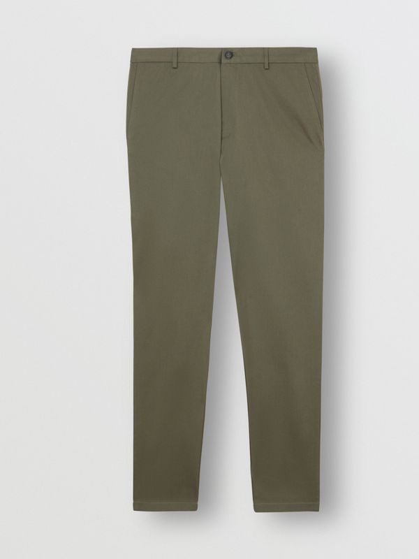 Slim Fit Cotton Chinos in Military Green - Men | Burberry - cell image 3
