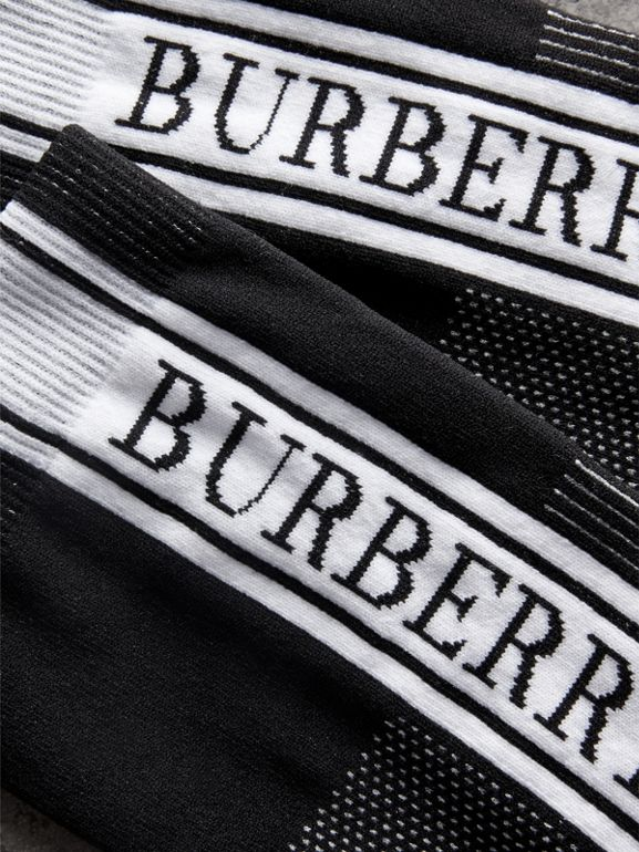 Logo Technical Knit Ankle Socks in Black - Women | Burberry - cell image 1