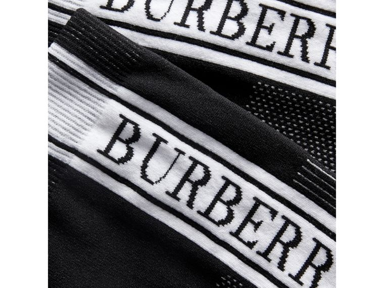Logo Technical Knit Ankle Socks in Black | Burberry - cell image 1