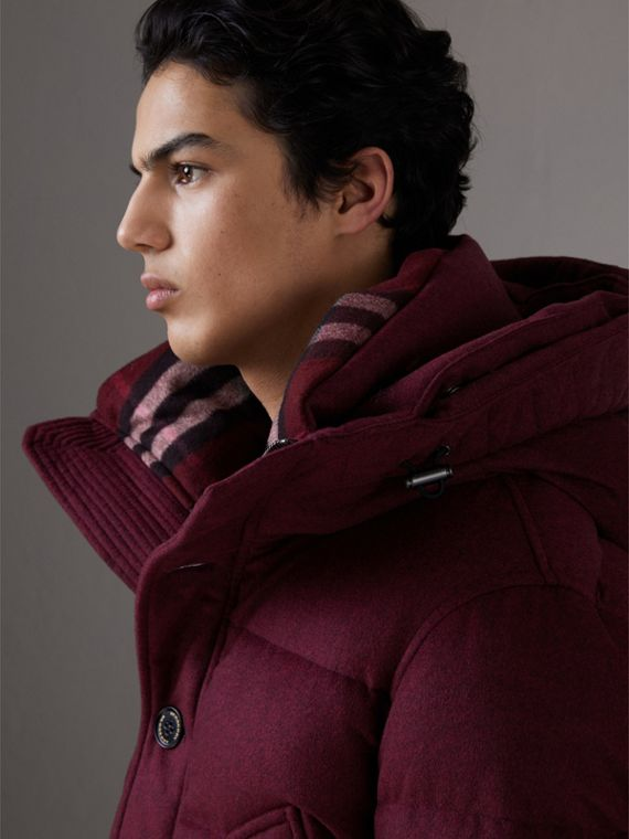 Short Detachable Fur Trim Cashmere Puffer Jacket in Dark Plum Melange - Men | Burberry - cell image 3