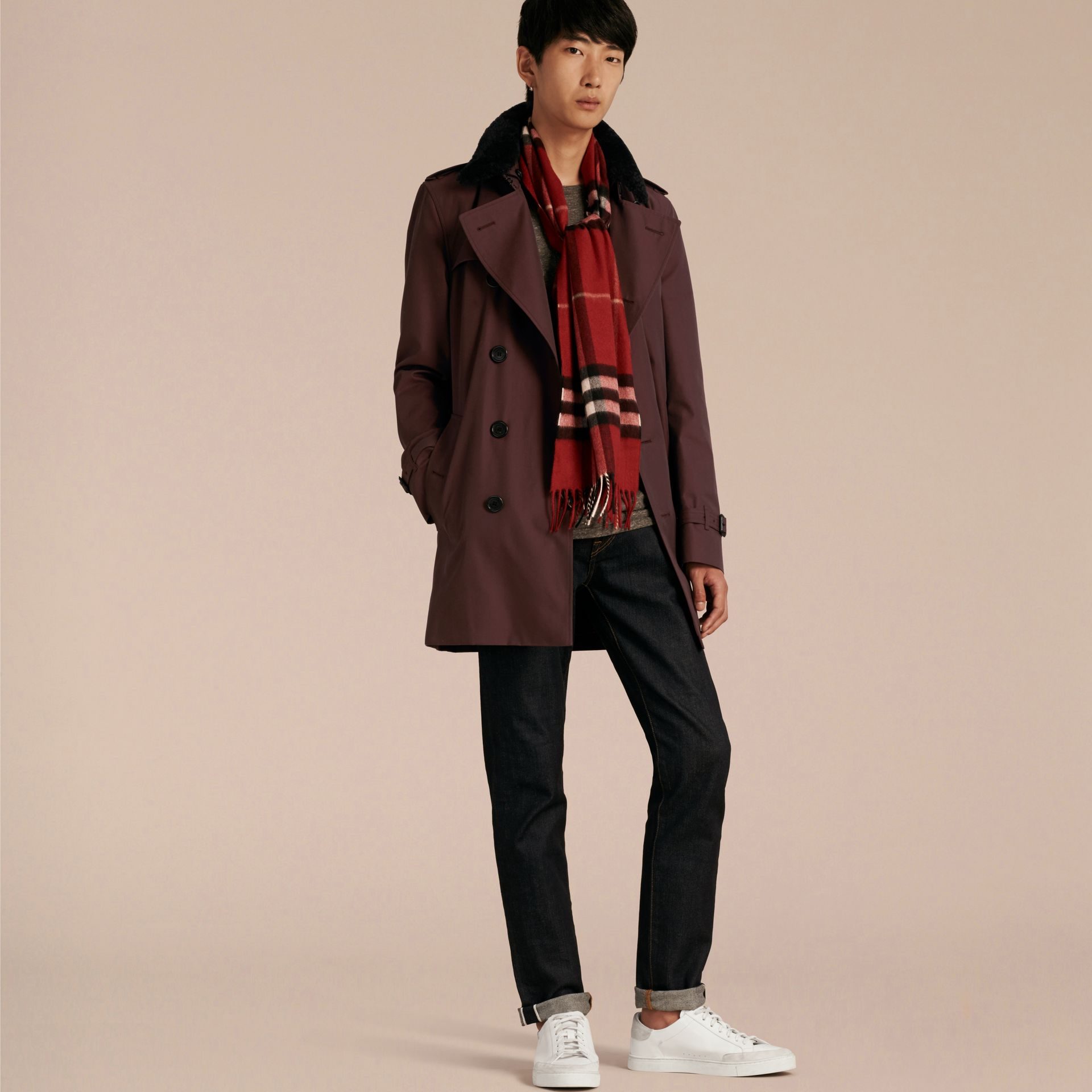 Detachable Shearling Topcollar Cotton Gabardine Trench Coat with Warmer Mahogany Red - gallery image 7