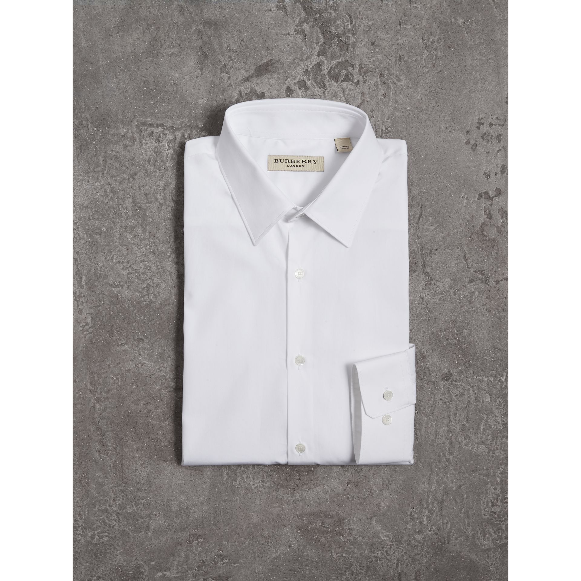 Modern Fit Cotton Poplin Shirt in White - Men | Burberry - gallery image 3