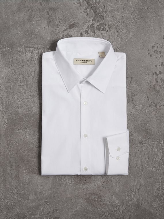 Modern Fit Cotton Poplin Shirt in White - Men | Burberry Canada - cell image 3
