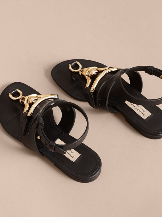 Equestrian Detail Leather Sandals - Women | Burberry - cell image 3