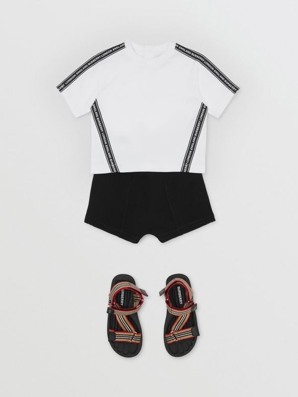 Logo Tape Cotton Drawcord Shorts in Black - Children | Burberry - cell image 2
