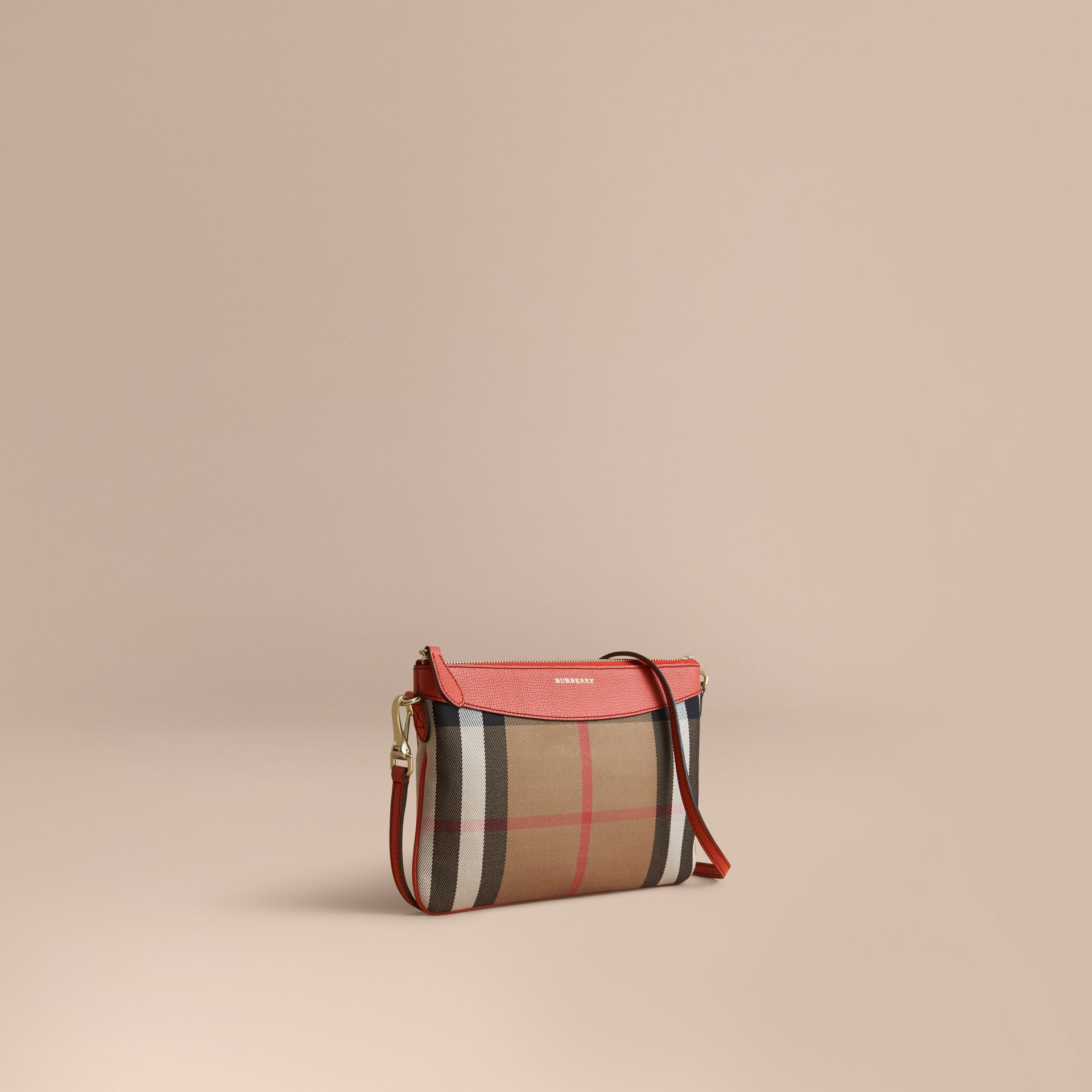 House Check and Leather Clutch Bag in Cinnamon Red - Women | Burberry - gallery image 1