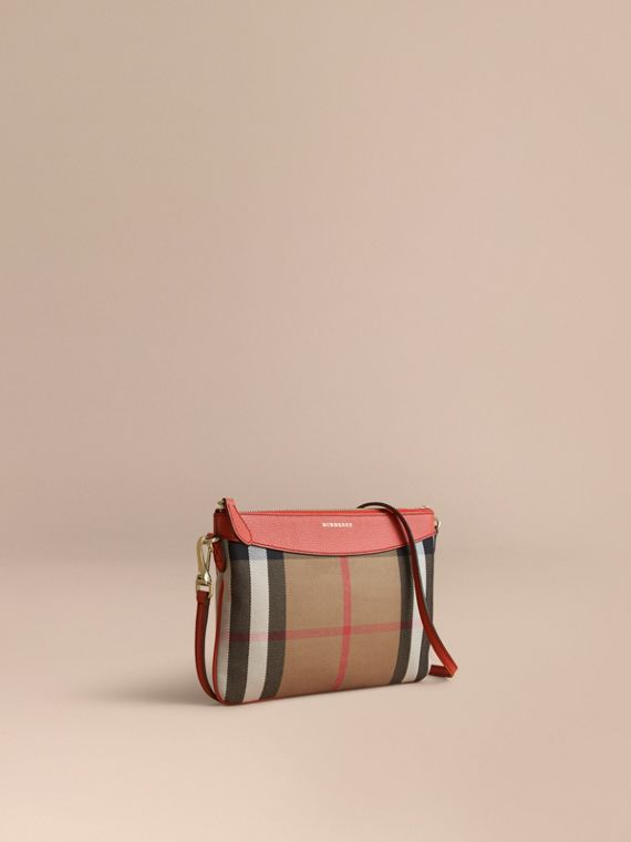 House Check and Leather Clutch Bag Cinnamon Red