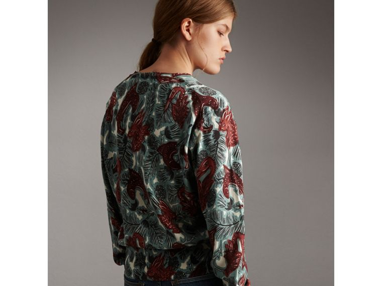 Beasts Print Cotton Sweater in Pale Celadon - Women | Burberry - cell image 1