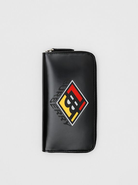 Logo Graphic Canvas Ziparound Wallet in Black