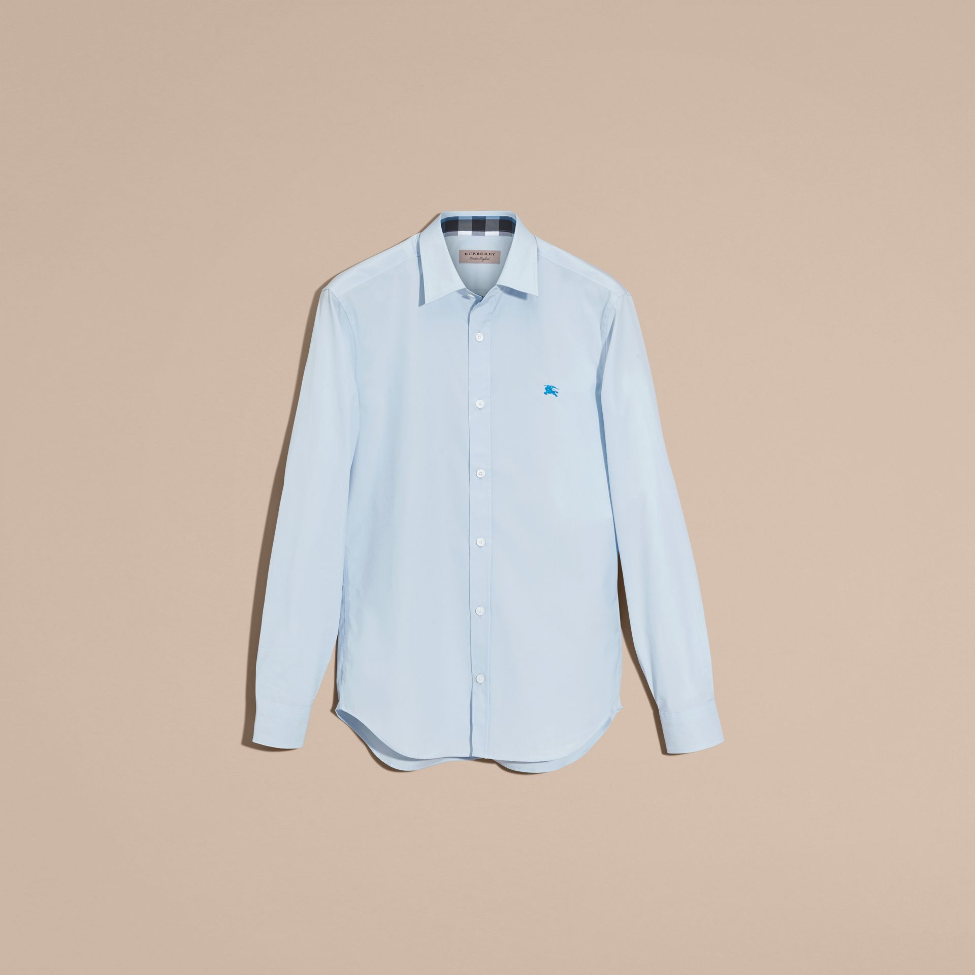 Check Detail Stretch Cotton Shirt in Pale Blue - Men | Burberry - gallery image 4