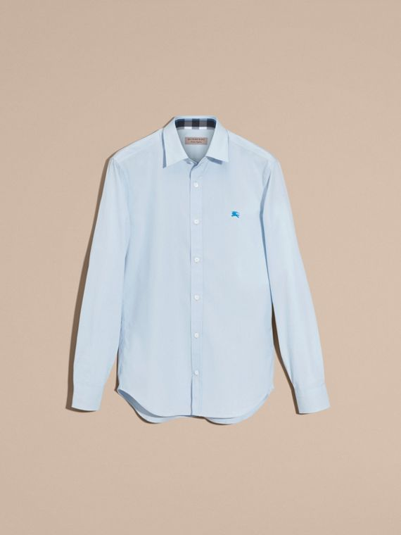 Check Detail Stretch Cotton Shirt in Pale Blue - Men | Burberry - cell image 3