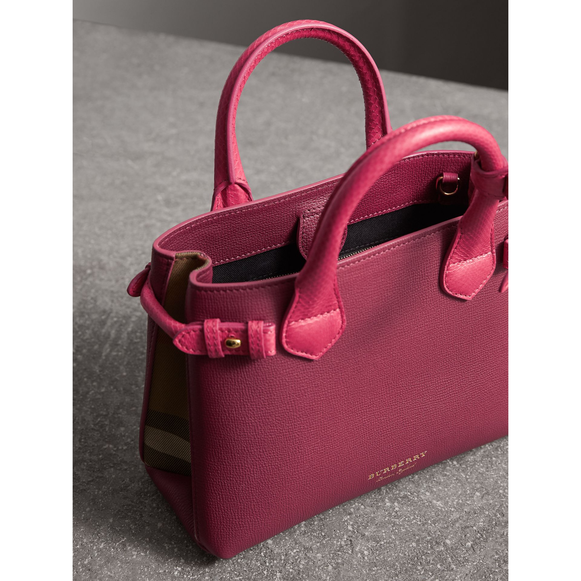 The Small Banner in Two-tone Leather in Berry Pink - Women | Burberry - gallery image 6