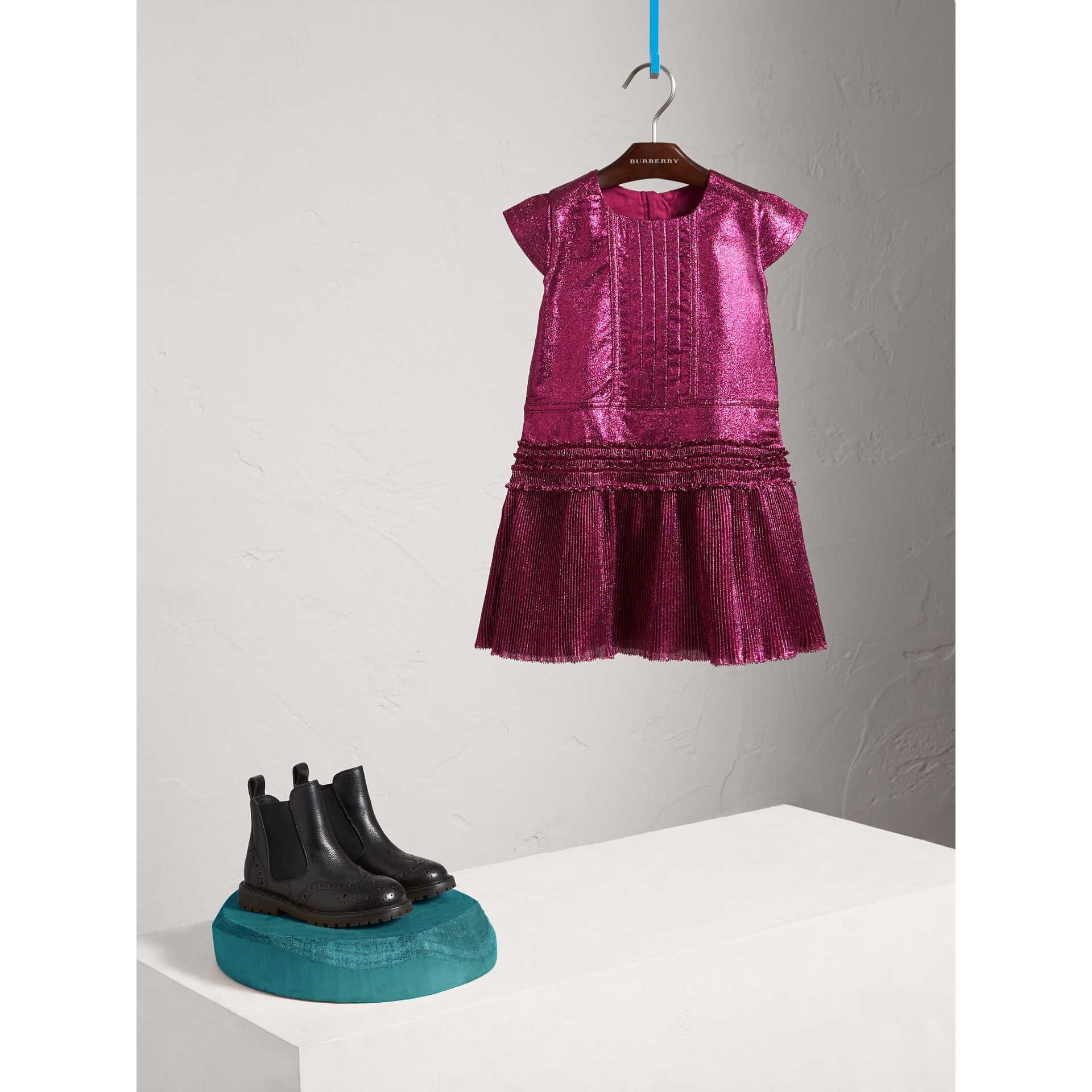Frill Detail Lamé Dress in Bright Fuchsia - Girl | Burberry Canada - gallery image 1