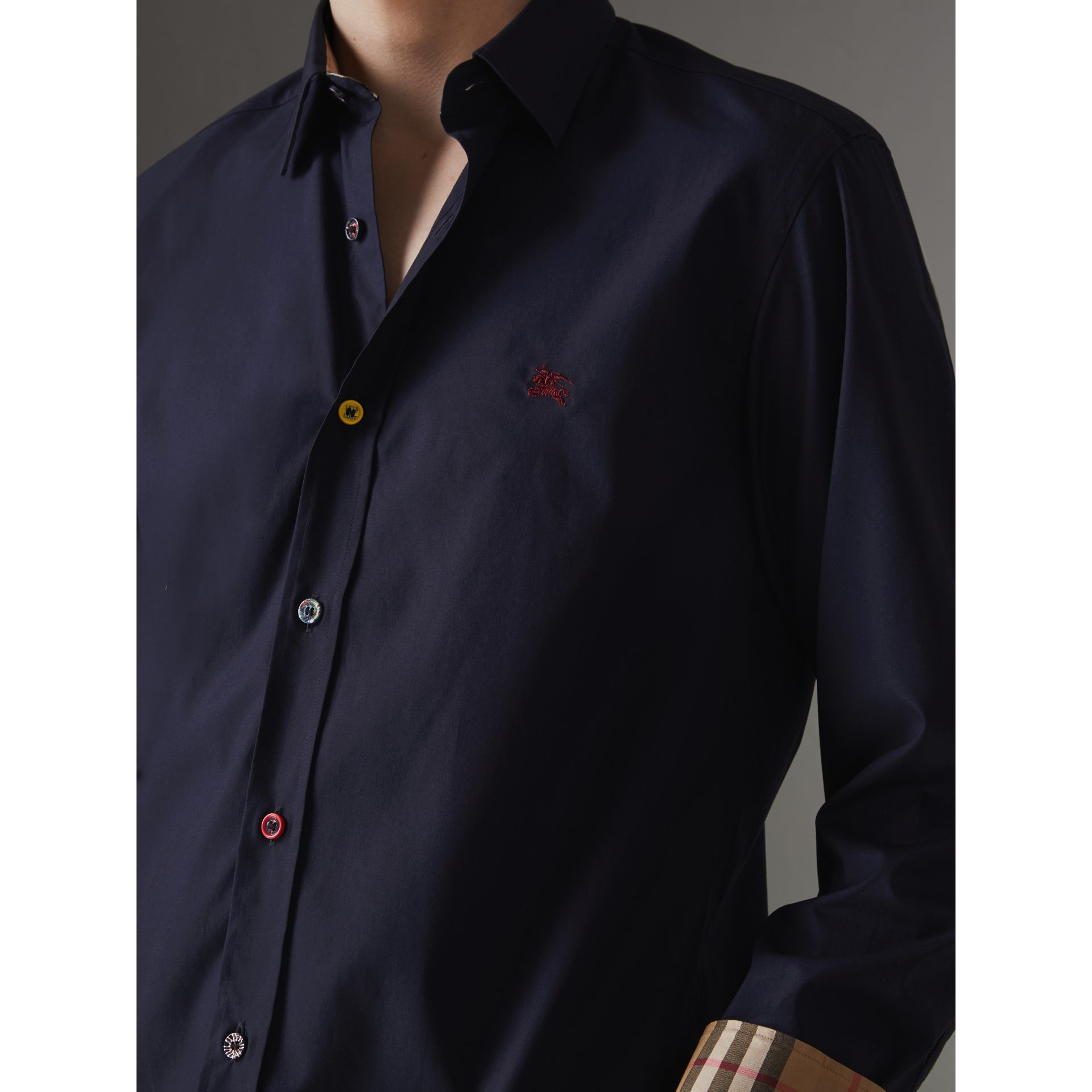 Contrast Button Stretch Cotton Shirt in Navy - Men | Burberry Canada - gallery image 1