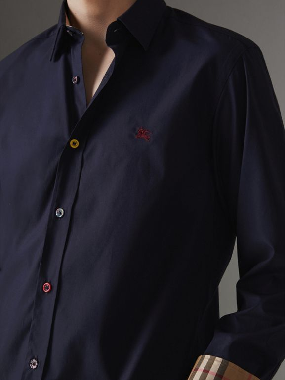 Contrast Button Stretch Cotton Shirt in Navy - Men | Burberry Singapore - cell image 1